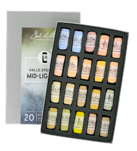 Richeson Soft Handrolled Pastels Set of 20 - Color Value Spectrum Mid-Lights 4