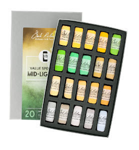 Richeson Soft Handrolled Pastels Set of 20 - Color Value Spectrum Mid-Lights 5