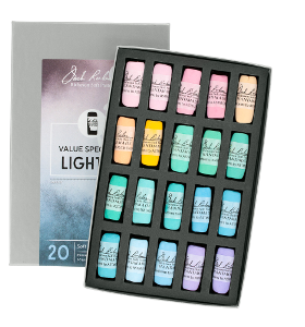 Richeson Soft Handrolled Pastels Set of 20 - Color Value Spectrum Lights 1