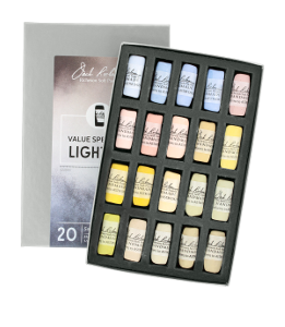 Richeson Soft Handrolled Pastels Set of 20 - Color Value Spectrum Lights 2