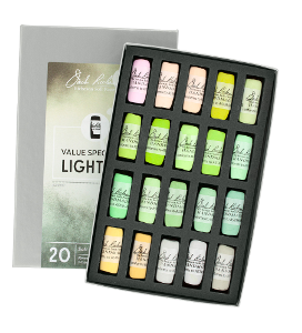 Richeson Soft Handrolled Pastels Set of 20 - Color Value Spectrum Lights 3