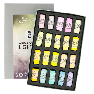 Richeson Soft Handrolled Pastels Set of 20 - Color Value Spectrum Lights 4