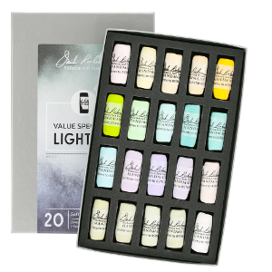 Richeson Soft Handrolled Pastels Set of 20 - Color Value Spectrum Lights 5