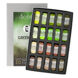 Richeson Soft Handrolled Pastels Set of 20 - Color Greenery