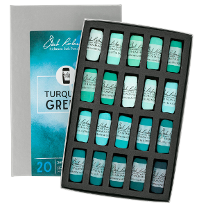 Richeson Soft Handrolled Pastels Set of 20 - Color Turquoise Greens