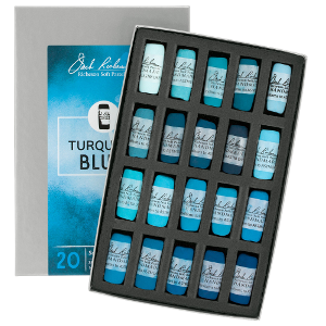 Richeson Soft Handrolled Pastels Set of 20 - Color Turquoise Blues