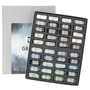 Richeson Soft Handrolled Pastels Set of 40 - Color Greys