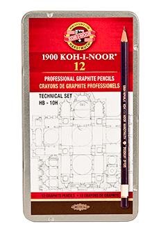 Koh-I-Noor Toison dOr Graphite Pencil Technical Set of 12 HB - 10H