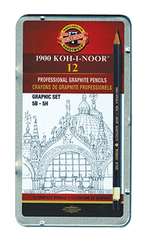 Koh-I-Noor Toison dOr Graphite Pencil Graphics Set of 12 5B - 5H