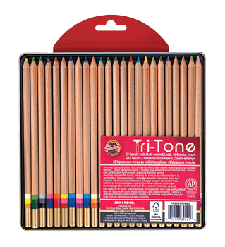 Koh-I-Noor Tri Tone Pencil Tin Set of 24