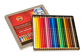 Koh-I-Noor Polycolor Colored Pencil Tin Set of 24