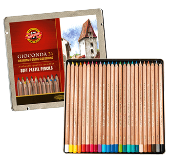 Koh-I-Noor Gioconda Soft Pastel Pencil Tin Set of 24