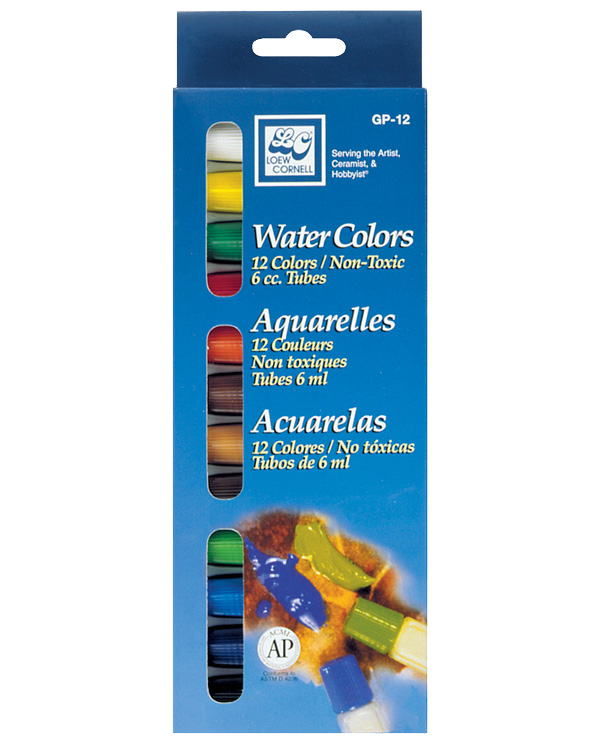 Loew Cornell Watercolor Tube Set of 12 - Size 6 cc.