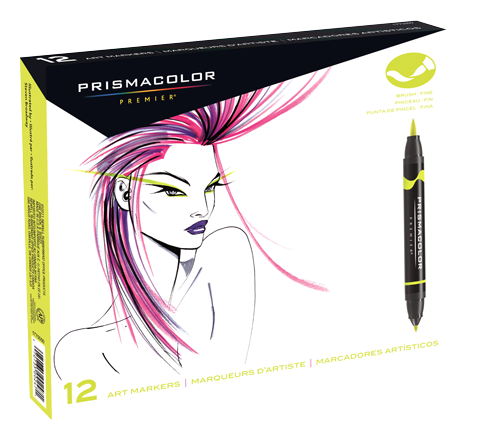 Prismacolor Premier Brush Marker Set of 12 Primary and Secondary