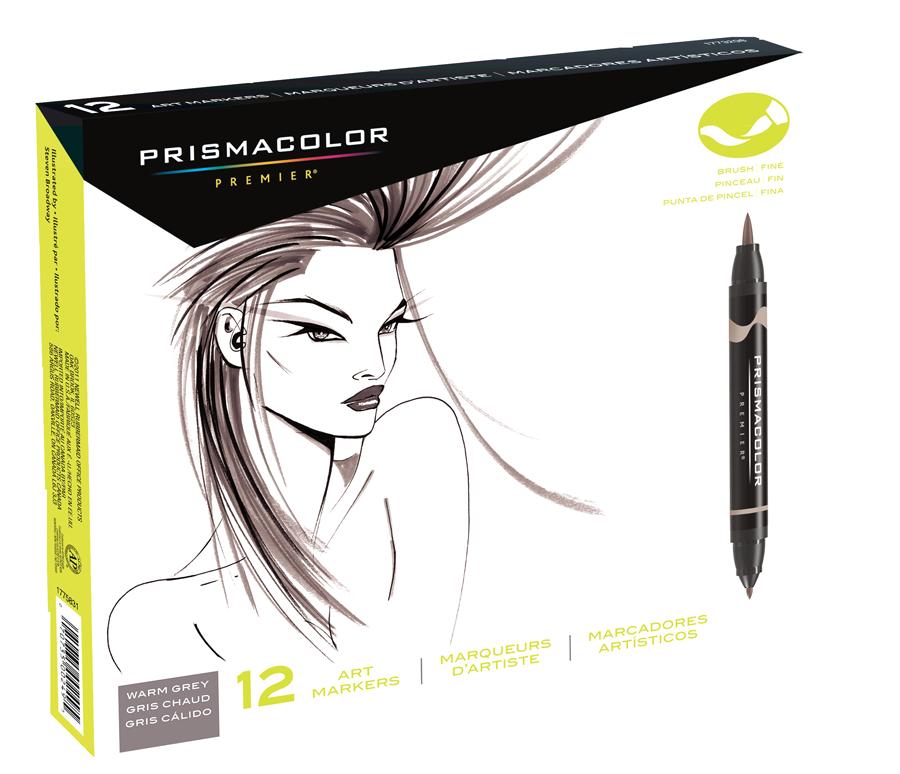 Prismacolor Premier Brush Marker Set Of 12 Warm Gray Rex
