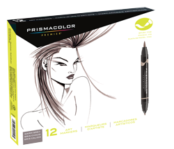 Prismacolor Premier Brush Marker Set of 12 Warm Gray
