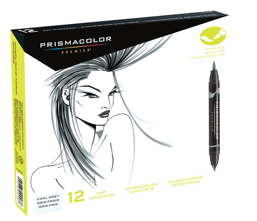 Prismacolor Premier Brush Marker Set of 12 Cool Gray