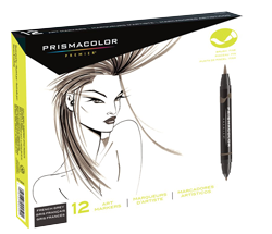 Prismacolor Premier Brush Marker Set of 12 French Gray