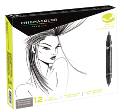 Prismacolor Premier Brush Marker Set of 12 Neutral Grey