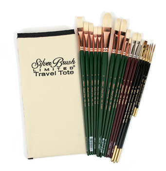 Silver Brush Burton Silverman The Commissioned Portrait Set of 19 with Travel Tote - Long Handles
