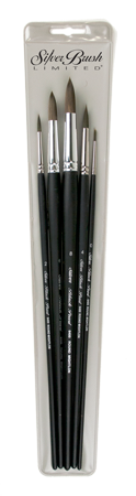 Silver Brush Black Pearl Set of 5 - Long Handles
