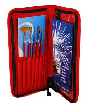 Silver Brush Golden Natural Set of 6 Including Case - Short Handles