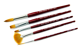 Silver Brush Golden Natural Brush Set of 5 - Multi Media - Short Handles