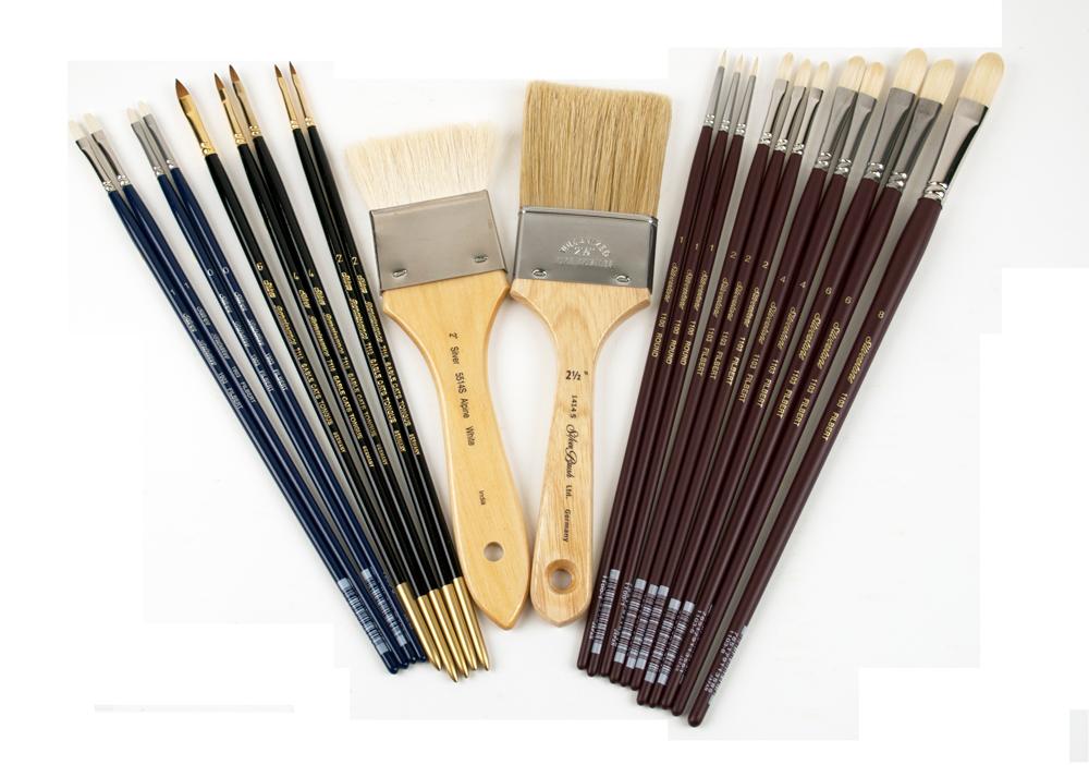 Size 8 Silver Brush 1100-8 Silverstone Excellent Long Handle Hog Bristle Brush Round