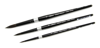 Silver Brush Susan Louise Moyer Basic Brush Set of 3 - Silk Painting/Watercolor - Short Handles