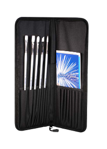 Silver Brush Silverwhite, Long Handle Acrylic Brush Set of 6 with Case