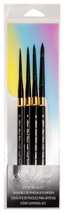 Silver Brush Black Velvet Voyage, Short Handle Watercolor Travel Brush Set of 4
