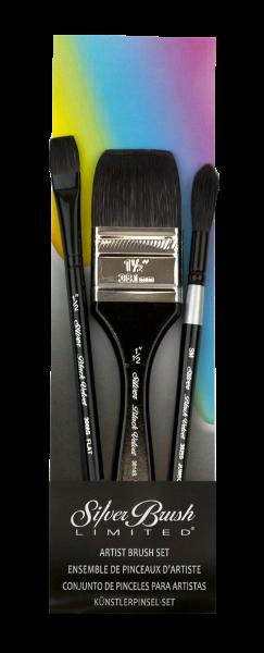Silver Brush Black Velvet 3 Best Plein Air Watercolor, Short Handle Brush Set of 3