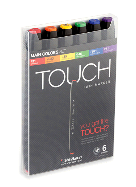 ShinHan Touch Twin Marker Set of 6 Main Colors