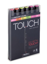 ShinHan Touch Twin Marker Set of 6 Fluorescents