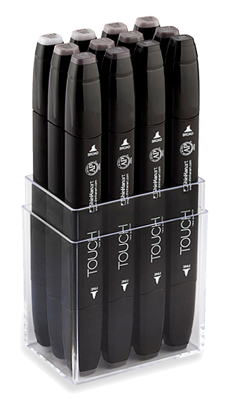 ShinHan Touch Twin Marker Set of 12 Warm Greys