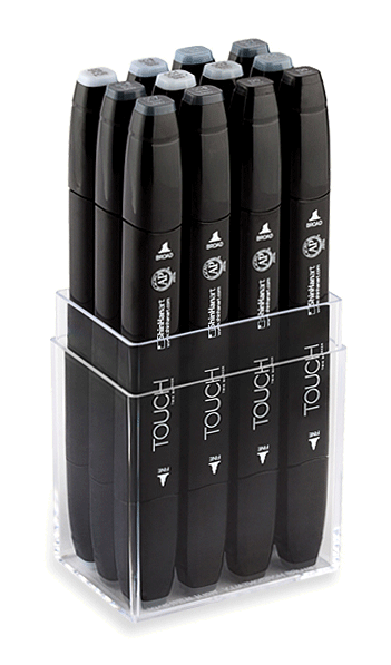 ShinHan Touch Twin Marker Set of 12 Blue/Green Greys