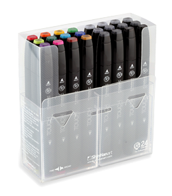 ShinHan Touch Twin Marker Set of 24 with Plastic Case