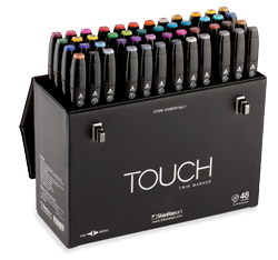 ShinHan Touch Twin Marker Set of 48 with Handle/Latch Case