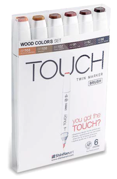 ShinHan Touch Twin Brush Marker Set of 6 Woods