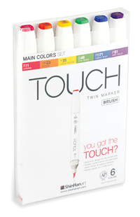 ShinHan Touch Twin Brush Marker Set of 6 Main Colors