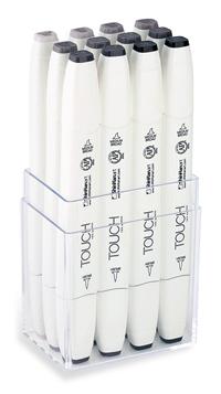 ShinHan Touch Twin Brush Marker Set of 12 Warm Greys