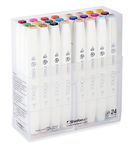 ShinHan Touch Twin Brush Marker Set of 24 with Plastic Case