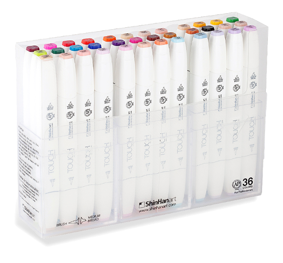 ShinHan Touch Twin Brush Marker Set of 36  with Plastic Case