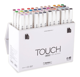 ShinHan Touch Twin Brush Marker Set of 48  with Handle/Latch Case