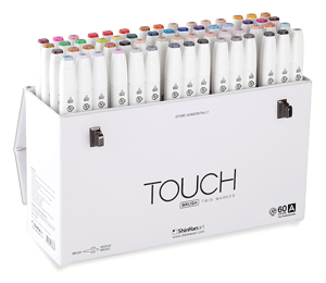 ShinHan Touch Twin Brush Marker Set of 60 [A] with Handle/Latch Case