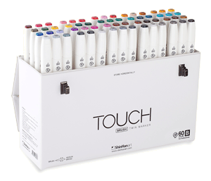 ShinHan Touch Twin Brush Marker Set of 60  [B] with Handle/Latch Case