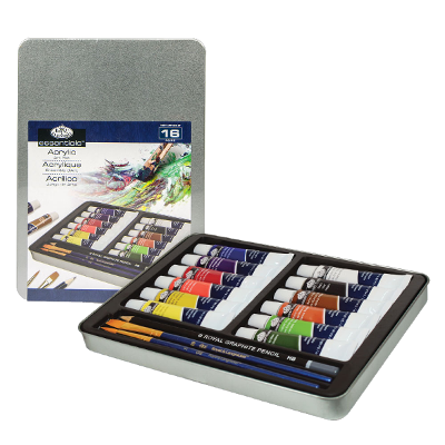 Royal & Langnickel Acrylic Paint Medium Tin Art Set