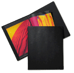Prat Classic Rod Binder + 1 Cartridge of 10 Cristal Laser Sheet Protectors - Color Black - Size 17 x 14 -  COVER ONLY, NO INSERT