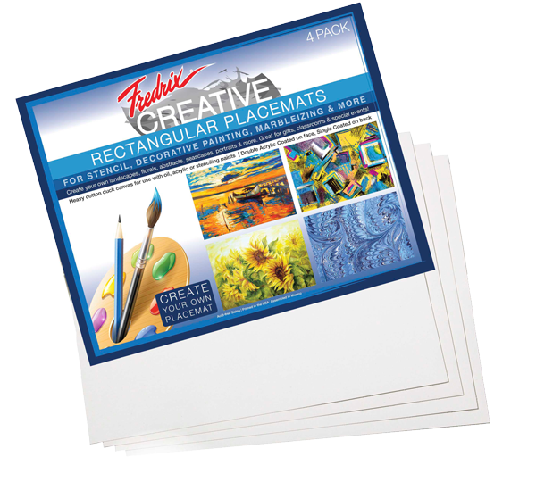 Fredrix Rectangular Canvas Placemats (4/Pk) - Size 13.5 x 17.5