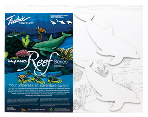 Fredrix Wyland Reef Series - Dolphins Kit - Color White - Size 11 x 14 - Case of 12